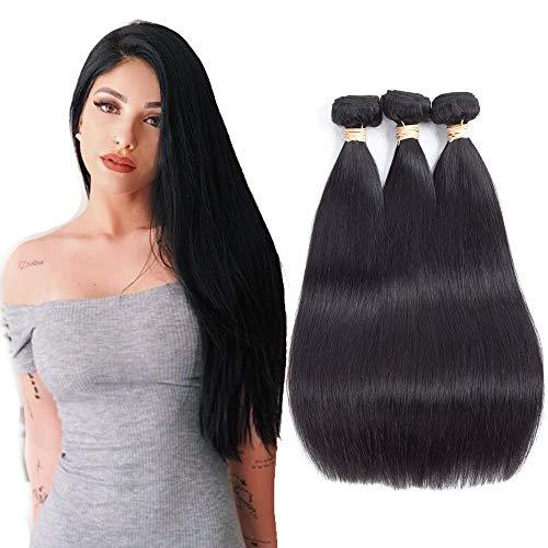 Allrun Hair 3 Bundles Straight Human Hair Brazilian Virgin Hair (18 20 22 inch) Unprocessed Human Hair Bundles Weave Hair Extensions Natural Black Color ...
