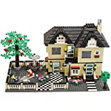 816 Piece Toy Family Cottage Themed Interconnecting Building Block Set with Yard, Garden, Figurines and Other Fun Assorted Pieces by Dimple