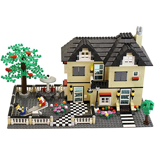 Free 816 Piece Toy Family Cottage Themed Interconnecting Building Block Set with Yard, Garden, Figurines and Other Fun Assorted Pieces by Dimple