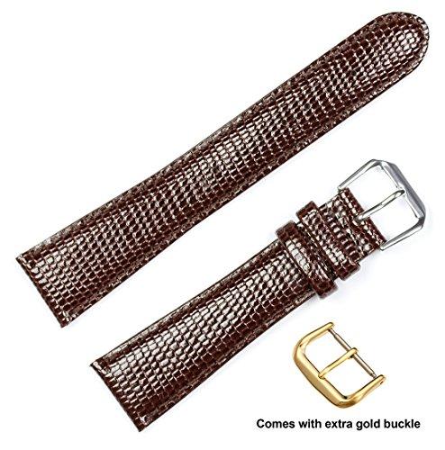 deBeer brand Lizard Grain Watch Band (Silver & Gold Buckle) - Brown 18mm (Short Length) by deBeer Watch Bands