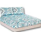 Tache White Blue Paisley Damask Fitted Sheet - Frozen Forest - Luxurious Cotton Deep Pocket Sheet Only With Pillow Covers - 3 Piece Set - California King