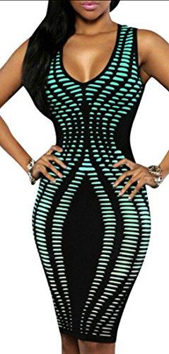 Jaycargogo Sexy Des Femmes De Coupe Slim Sexy Moulante Robe De Cocktail Clubwear Bleu