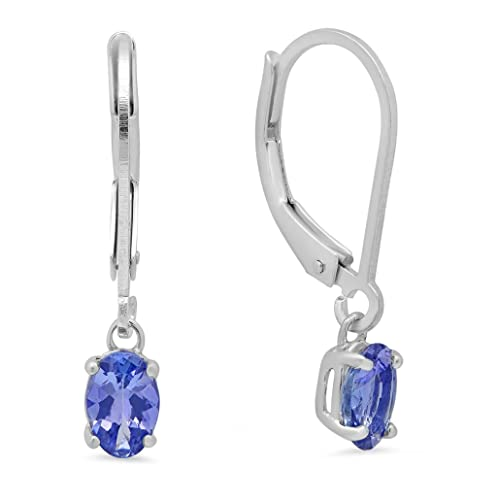 109d7172c Genuine Tanzanite Lever-Back Earrings in Sterling Silver: Amazon.ca: Jewelry