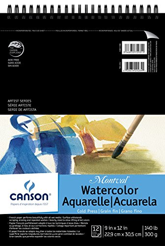 Canson Montval Watercolor Pad, Cold Press Acid Free French Paper, Top Wire Bound, 140 Pound, 9 x 12 Inch, 12 Sheets