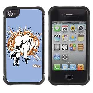 Hybrid Anti-Shock Defend Case for Apple iPhone 4 4S / Shark & Gorilla High Five