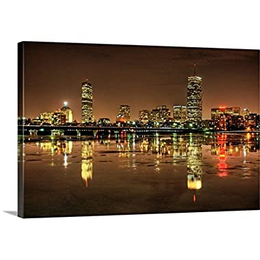 Premium Thick-Wrap Canvas Wall Art Print entitled Massachusetts Avenue Bridge and Boston skyline, reflected in the Charles River at night