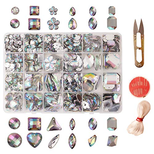 990pcs AB Clear Sew on Rhinestones Acrylic Crystal Buttons Gems Flatback Diamantes 12 Styles 22 Sizes for DIY Crafts Handicrafts Clothes Deco Homemade Bag Shoes Decorations and DIY -