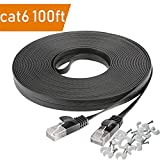 Cat 6 Ethernet Cable 100 ft – DaBee Flat Wire LAN Rj45 High Speed Internet Network Cable Slim with Clips – Faster Than Cat5e Cat5 with Snagless Connectors - (30 Meters) (50Ft, Black)