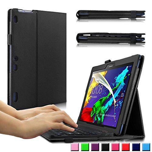 Infiland Lenovo Tab 2 A10-70 / Tab 2 A10-30 / Tab 3 10 Business Bluetooth Tastatur Hülle(QWERTZ Tastatur) -Slim Fit Kunstleder Smart Stand Tasche mit Hochwertige Abnehmbar Drahtlos Bluetooth Tastatur für Lenovo Tab 2 A10-70 / Tab 2 A10-30 / Tab 3 10 Business 10,1 Zoll Tablet(mit Auto Schlaf / Wach Funktion)(Schwarz)
