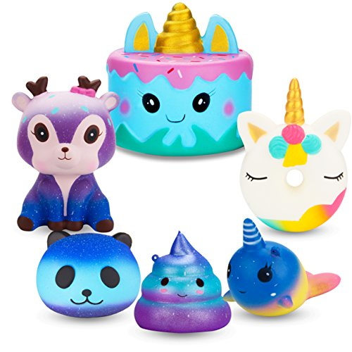 R HORSE Jumbo Cute Narwhal Cake, Unicorn Donut, Galaxy Panda, Deer, Dolphin, Excrement Set Kawaii Cream Scented Squishy Soft Decompression Squeeze Toys for Kids or Stress Relief Toy (6 Pack)