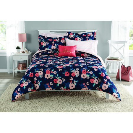 Mainstays Reversible Garden Floral Bed in a Bag Bedding Set, Twin/Twin XL Comforter Set (Twin/TwinXL) - Floral Bed Set