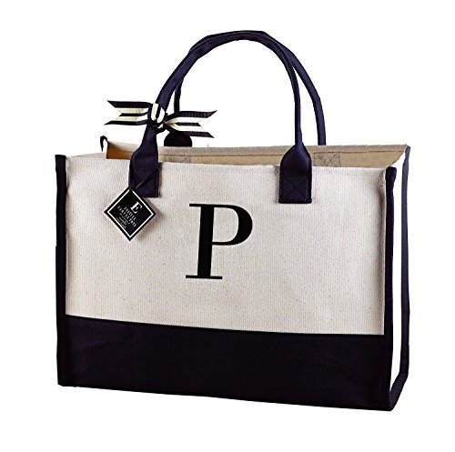 (Mud Pie 501115 P-Initial Canvas Tote )