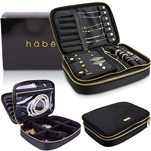 häbe Habe Travel Jewelry Organizer Case, Tangle-Free, Space-Saving, Compact, and Portable Jewelry Storage Bag, Adjustable Dividers, Large Pockets, Holds 12 Pair Earrings, 7 -