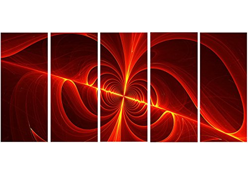 "picture of Designart Red Laser Metal Wall Art - MT3""36 - 6""x28 - 5 Panels"