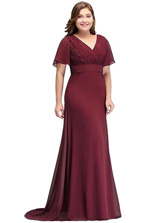 8661c10f5895 Misshow Damen Abendkleider Lang Übergrößen Plissee Mit Chiffon Elegant Für  Hochzeit Prom Dress  Amazon.de  Bekleidung