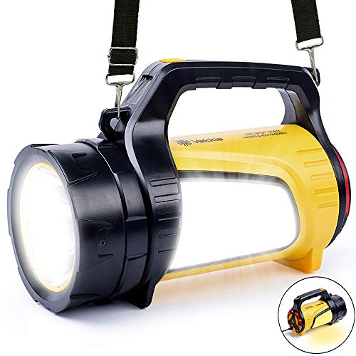 600LM Super Bright LED Spotlight Lantern Flashlights, High Capacity 5200mAh Powerbank, 10 Modes 2000 Ft Distance, Waterproof, Handheld/Shoulder Strap for Outdoor Searching Camping Fishing Emergency