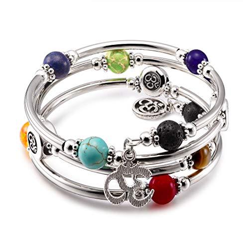 (CAT EYE JEWELS Wrap Bangle Bracelet 7 Chakra Natural Beads Gemstone OM Charm Boho Jewelry B009)