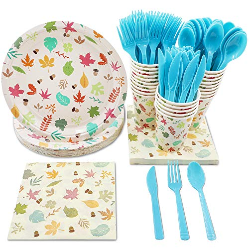 Autumn Leaves Party Supplies - Serves 24 - Includes Plates, Knives, Spoons, Forks, Cups and Napkins. Perfect Party Pack for Fall Themed Birthday and Thanksgiving Parties, Autumn Leaves Pattern]()