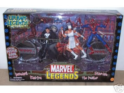 Urban Marvel Legends 4-figure Boxed Set W/punisher Daredevil Spiderman Elecktra