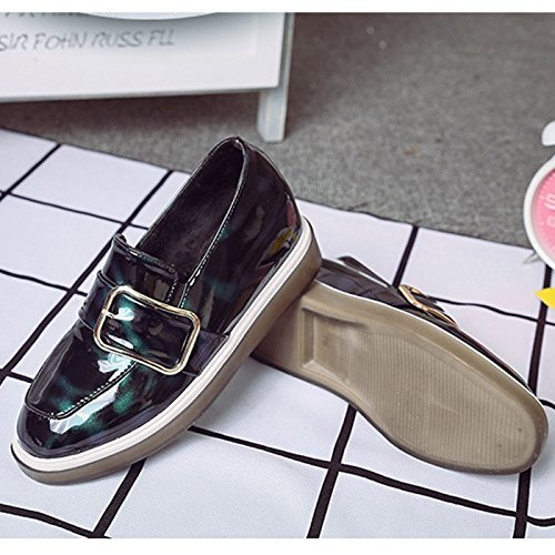 CHNHIRA Women's Autumn Patent Leather Closed-Toe Leather Increase Shoes Wedge Buckle Black RW4O1c3nVQ