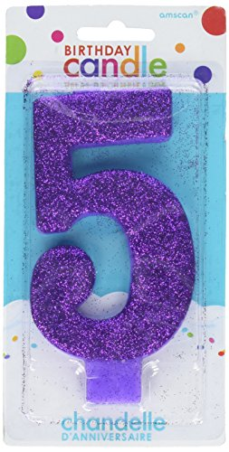 Amscan Numerical Candles, Numeral #5 Large Glitter Candle, Party Supplies, Purple, 5 1/4