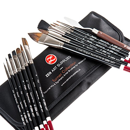 Top Quality Artist Paint Brush Set (14-Pieces) for Watercolors, Gouache, Acrylics and Oil Painting - Squirrel & Japanese Synthetic Mix, Short Handled, in Posh Case - Turner Collection by ZenArt (Top Quality Paint)