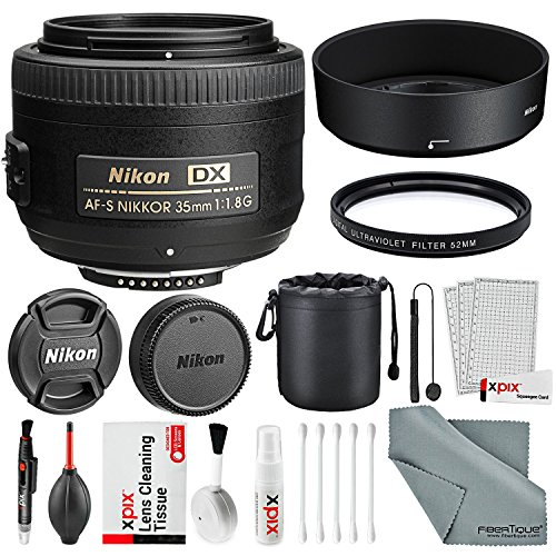 Nikon AF-S DX NIKKOR 35mm f/1.8G Lens, Basic Bundle with UV Lens Filter+ Lens Pouch + Xpix Professional Handling Accessories