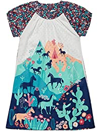 Casual Cotton Summer Dress with Puff Sleeves for Little Toddler Girl, Horses / Floral (Size Age 5t-6 years)