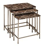Benzara The Perfect Metal Faux Marble Table, 25.99 by 25.99 by 25.99-Inch, Brown,