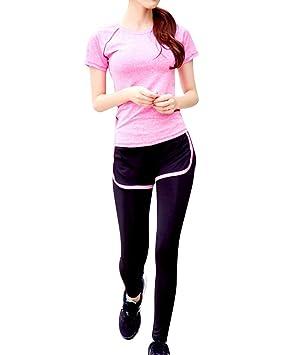 Mujer Camisa de Manga Corta Tops Bustier Sujetador Deportivo Polainas Mallas Leggings Pantalones Largos 3 Piezas - Rose Top + Naranja Sujetador + Leggings ...