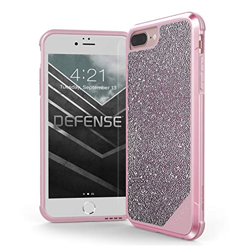 X-Doria iPhone 8 Plus, iPhone 7 Plus, iPhone 6 Plus Case, Defense Lux Series - Military Grade Drop Tested Case for Apple iPhone 8 Plus, iPhone 7 Plus & iPhone 6 Plus (Pink Glitter)