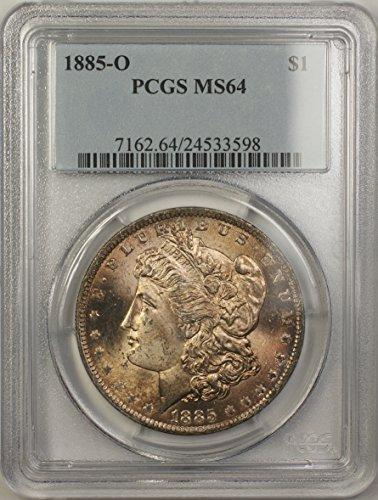Ms64 Light (1885 O Morgan Silver Dollar Coin (ABR4-E) Light Toning $1 MS-64 PCGS)
