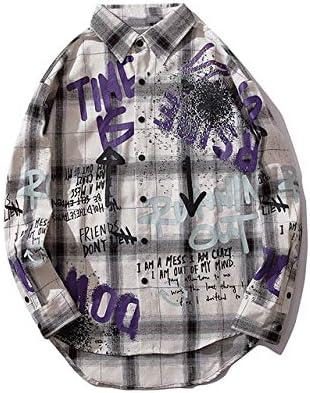 WSDMY Graffiti Ink Print Camisas a Cuadros de Manga Larga Hipster Camisas de Vestir Abrigos Streetwear Moda Casual Punk Rock Tops M Blanco: Amazon.es: Deportes y aire libre