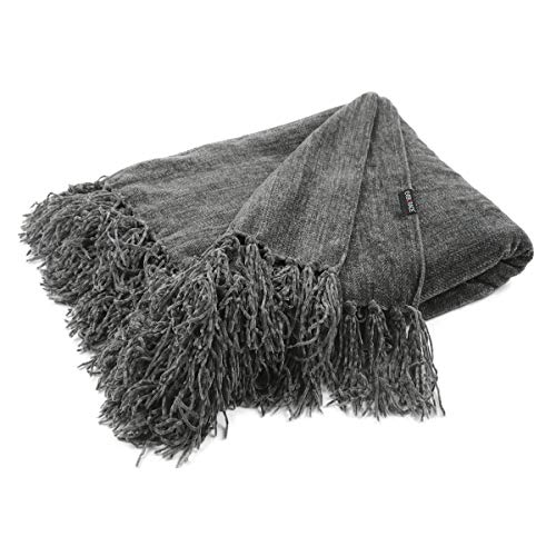 """EverGrace Chenille Throw Blanket,Solid Color Sofa Couch Throws with Fringe, 100% Polyester, Super Soft Light-Weight, Warm Blankets for Home Decor, Camping, Traveling, Picnic, 50""""x60"""" (Grey)"""