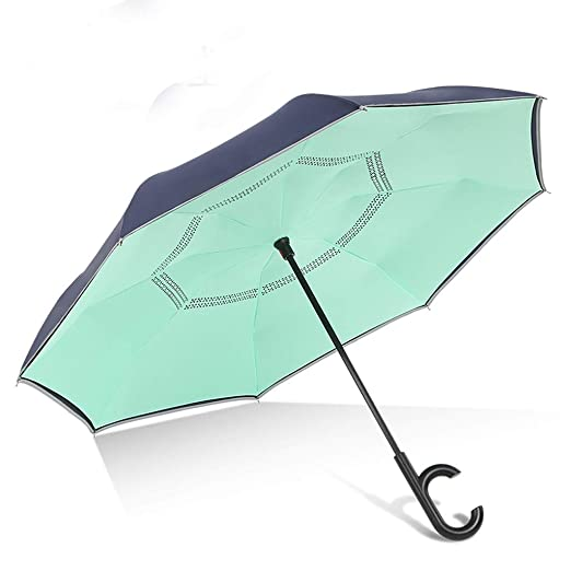 LSXLSD Paraguas invertido Paraguas Reversible de Doble Capa ...
