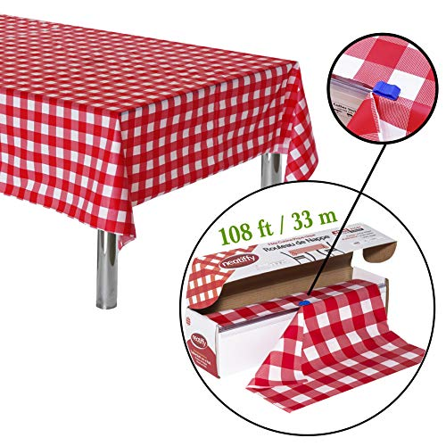(Neatiffy 54 Inch x 108 Feet (Equal to 12 Pack) Roll Plastic Table Cloth Picnic/Party/Banquet, Heavy Duty Table Cover (Reusable/Disposable) Tablecloths for Rectangle/Round/Square Tables (Red)