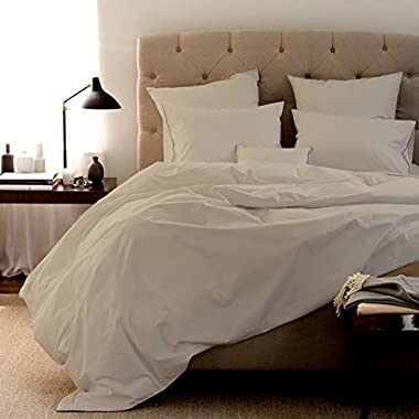 100% Egyptian cotton Duvet Set 600 Thread Count Solid Created Queen, Ivory By Fantasy Nap