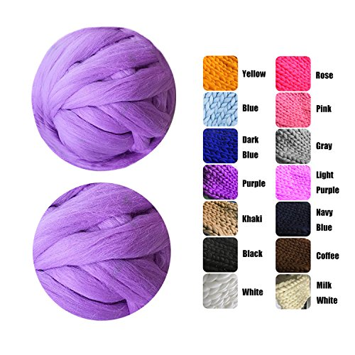 EASTSURE Arm Knitting Yarn Soft Chunky Wool Yarn Roving for Super Thick Blanket Throw DIY Craft Materials (Purple - 6.6LB) -