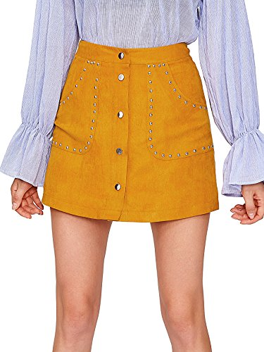MakeMeChic Women's Casual Faux Suede Button Front A Line Mini Skirt Studded-Yellow S