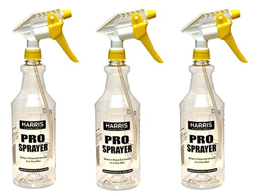 Harris Professional Spray Bottle 32oz (3-Pack), All-Purpose with Clear Finish, Pressurized Sprayer, Adjustable Nozzle and (Chemical Resistant Spray Bottles)