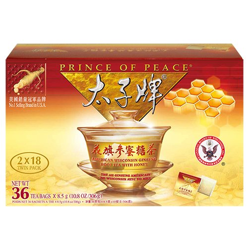 Peace Herbal Tea - Prince of Peace®American Ginseng Root Tea w/Honey (Twin Pack 2 boxes X 18 sachets)