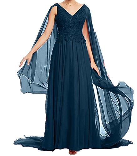 Abendkleider 2018 Langes Festlichkleider A Charmant Ballkleider Brautmutterkleider Linie Dunkel Promkleider Blau Damen Rock Neu x6qxtI5