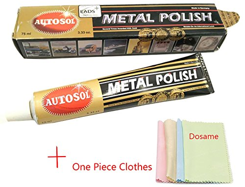 Autosol Metal Polish 3.33 Oz.(75ml) Copper Brass Alumium and more with Polishing Clothes ()