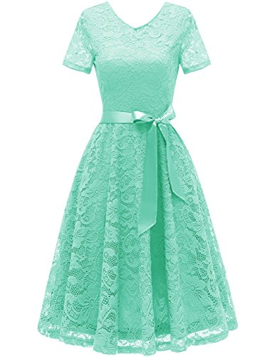 Bridesmay Women's Bridesmaid Dresses Floral Lace Cocktail Dress with Short Sleeve Mint S