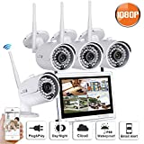 SW SWINWAY 1080P High Definition Wireless Smart Outdoor Indoor Home Video Security Camera System 4 Channel 12inch Monitor WiFi NVR Not Include Hard Drive Review