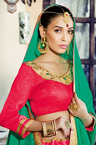 Mrsindia Womens Pink Striking Lehenga Choli With Embroidery Lace Work 80378 80378