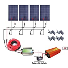 ECO-WORTHY 400 Watts Off Grid Solar Power System: 4pcs 100w Polycrystalline Solar Panel + 1000w Pure Sine Wave Inverter + 30A PWM Charge Controller + Solar Cable Adapter + Y MC4 Connectors + Z Brackets