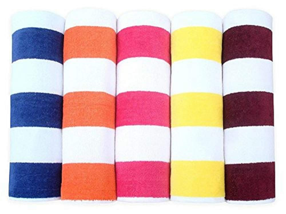 Apollo Towels Turkish Rugby Orange and White Stripes Beach Towel 100 Percent Cotton 30x60 inches