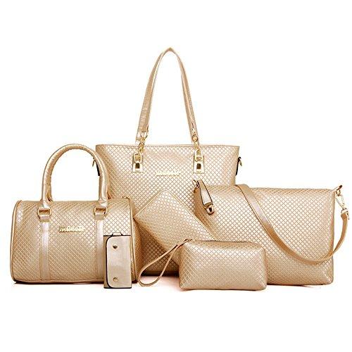 Messenger Small Handbags Gold - H&X SIX pieces/set PU leather purse Female Messenger Bags for Crocodile pattern Shoulder Bags +handbag (gold)