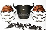 Set of 12 - Mustache Cupcake Wrappers and Toppers - Little Man Baby Birthday - Boy Shower